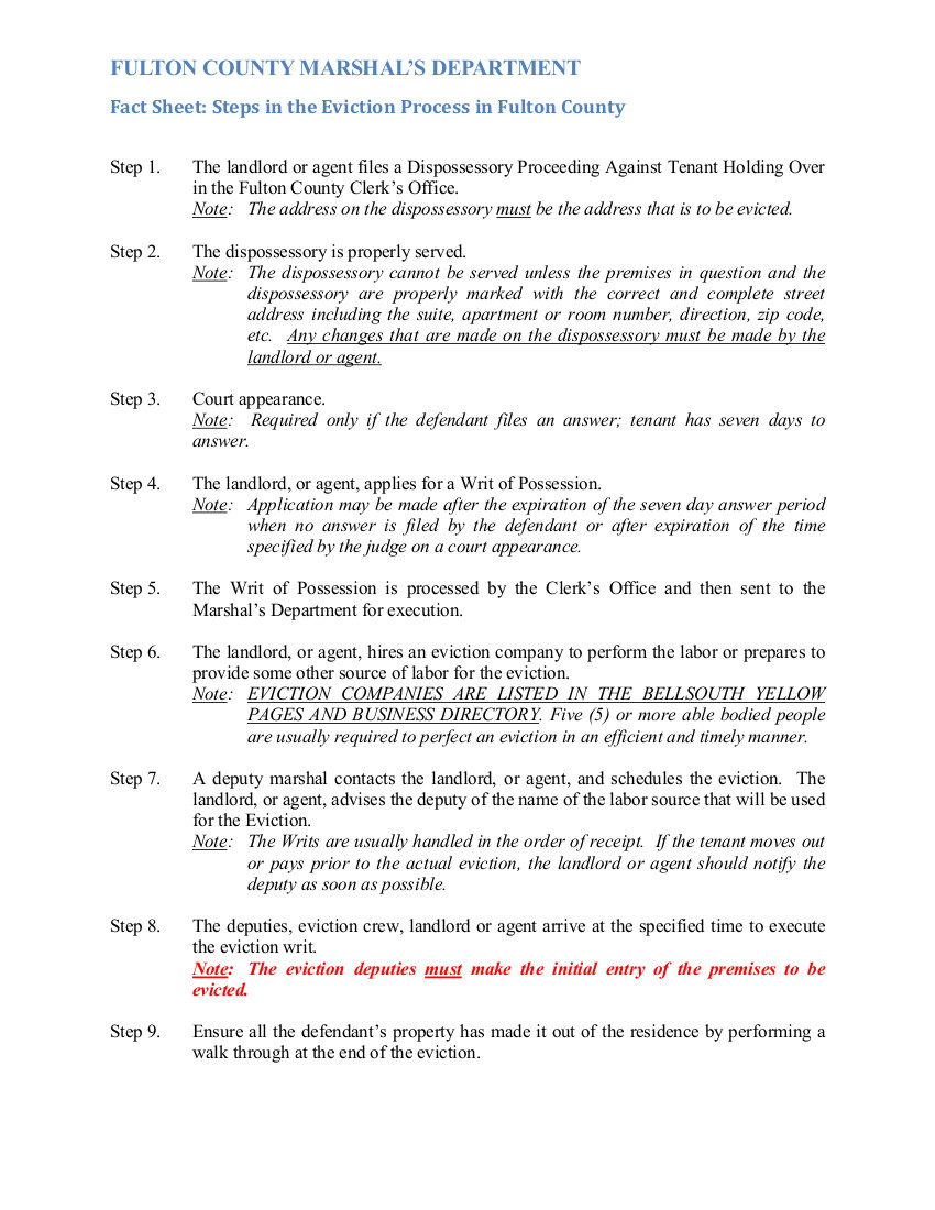 How To File An Eviction In Fulton County Newmax Real Estate Writ laws in ga